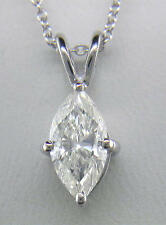 1.00ct Diamond Solitaire Pendant Marquise Platinum Certified D IF VG  with Chain