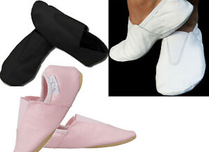 White/Black LEATHER GYMNASTIC SHOE SLIPPERS TRAMPOLINING TRAINING DANCE  Shoes
