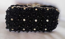 Silk Roses Covered Designer Party Bridal Clutch Purse With Beads & Rhinestones