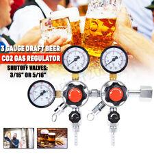 3 Gauge Draft Beer Co2 Gas Regulator Primary + Secondary 2 Products, 2 Pressures