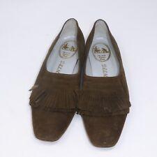 DELMAN Brown Suede Fringe Ballet Flats Slip-On Size 7 Medium Vintage