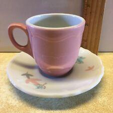 Shenango China Demitasse Pink Demi Cup White Saucer Leaf Pattern Sho93 USA