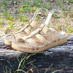 BareTraps Womens Cella Buckle Memory Foam Slide Sandals Natural Beige Sz 9