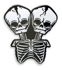 Conjoined Twin Skeletons Enamel Pin Halloween Freak Show Horror Ars Moriendi