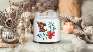 Floral Puppy Candle