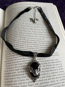 Gothic Bat Necklace Velvet Choker Cameo Vampire Halloween - Uk Seller