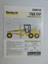 Champion 716A Vhp Series Vi Motor Grader Color Literature