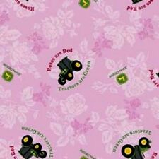 Discontinued John Deere Logo Tractors Are Green Roses Are Red Pink Cotton Fabric