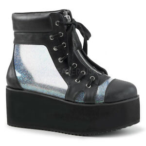 DEMONIA Women's Platform Ankle Boots with Clear Holographic See-Through Panels