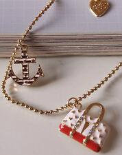N222 BETSEY JOHNSON Travel Case Bag Handbag Purse Anchor Sailor Necklace US