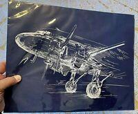 'Blueprint-Style' DC-3 & Bi-Plane Prints, 11x14, Set/4, My Darling Print Co, NEW