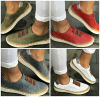 US STOCK Womens Ladies Slip On Low-cut Vulcanize Flat Trainers Casual Shoes Size