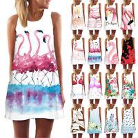 Womens Flamingo Print Summer Sleeveless Tank Top A-Line Beach Casual Loose Dress