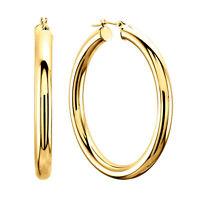 14K Yellow Gold 4MM Shiny Round Tube Hoop Earrings