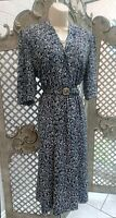🌹 VINTAGE 🌹 NAVY DITSY FLORAL PRINT FIT & FLARE BELTED TEA DRESS 14 RETRO