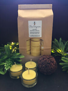 60 Australian Organic Beeswax Hand Poured Tealight Candles BONUS 3 Glass Holders
