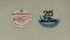 Miss Budweiser 25th Anniversary 3� Pinback Button lot of 2 Unlimited Hydroplane