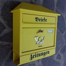 XXL Briefkasten Postkasten Gelb / Matt+Zeitungsrolle Wandmontage Nostalgie