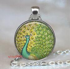 Vintage PEACOCK  Cabochon  Tibetan silver Glass Chain Pendant Necklace gift