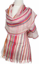 Streifen Schal Baumwolle gestreift scarf écharpe Rosa Pink Türkis cotton stripe