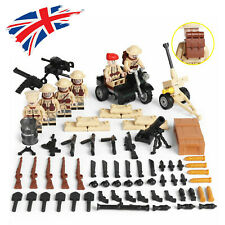 WWII British Army Soldier Mini Figures Military War Set WW2 UK Weapons Fit Lego