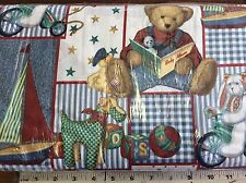 DAISY KINGDOM #4446 BLUE JEAN TEDDY-PICTURE PATCH NURSERY-BY THE YARD