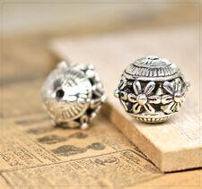 2x XL Perlen Spacer Beads Zwischenteil Schmuck DIY Basteln Blumen Muster 15x14mm