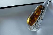 IMPRESSIVE 🌟 14g 925 sterling silver whisky star spangled amber ring R (US 8.5)