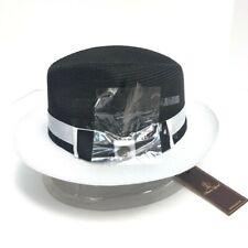 Steven Land Men's Dark Black White Fedora Hat Signature Collection Sizes S -XL