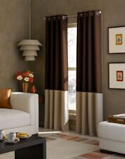 New Curtainworks Kendall Color Block Grommet Curtain Panel, 108 inch, Chocolate