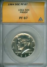 1964 KENNEDY SILVER HALF DOLLAR ANACS PF67 OLD PROOF COIN IN HIGH GRADE