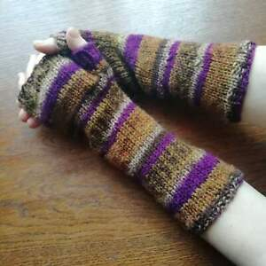 Wool Mittens Long Striped Knitted Gloves Handmade Arm Sleeve Finger Less Rainbow