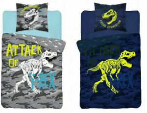 Bedding Cover Set T-REX Glow In The Dark Pillowcase Duvet Cover Beige 160x200cm