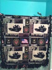 "Fleece Tied tie handmade Blanket US Army Military fabric, 55"" by 70"""