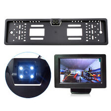 LCD Monitor & EU Car License Plate Frame Rear View Camera With 4 LED 170°