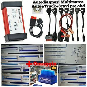 Auto Diagnosi Multimarca USB+BT Auto & Trucks + 8 cavi PreOBD + ELM 327 BT !!!