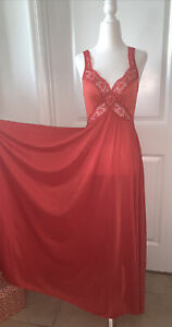 Vtg 1970s Grand Sweep Glamorous Bombshell Sexy Red Nylon Lace Olga Night Gown S