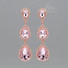 ROSE GOLD Plated Pink Crystal Rhinestone Wedding Drop Dangle Earrings 09346 New