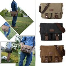 Vintage Men's Shoulder Bag Military Canvas Messenger Bag School Bag - Coffee