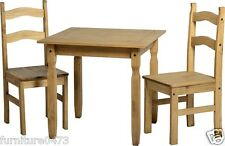 Solid Pine Distressed Waxed Dining Table & 2 Chairs L80cm x D80cm x H75cm AVA