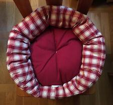 PANIER  CHAT Mousse et coton Rond Tissu Rouge et blanc NEUF