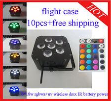 6*18W RGBWA+UV Led Par Light Wireless DMX IR Battery Power 10pcs Free Shipping