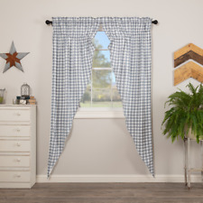 Sawyer Mill Denim Blue/Soft White Plaid Country Cottage Long Prairie Curtains