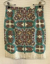 Anthropologie Maeve Mayola Sz 6 Linen Blend Paisley Pencil Skirt Cream Teal Boho