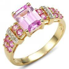 Women's Size 10 Cute Princess Cut Pink Sapphire 10KT Gold Filled Wedding Ring