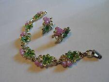 Vintage Fruit Salad Bracelet & Clip Earrings W/Pink Grapes, Green Enamel Leaves
