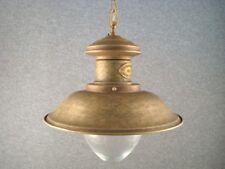 Lampadario sospensione in ottone brunito con vetro marina lume mis media