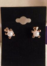 Jewelry Earrings Pearl Faux Imitation 14K Gold Plated Teddy Bear Stud