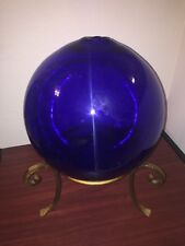 19th Century Witches Ball 10 inch diameter/25 cm - Cobalt Blue Glass With Stand
