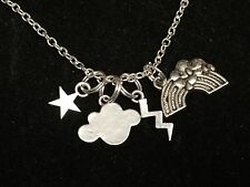 "Rainbow Lightning Star Cloud Charm Tibetan Silver 18"" Necklace BIN"